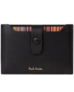 This is the Paul Smith Black 'Signature Stripe' Pull Out 3CC Card Holder.