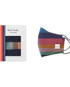 These Paul Smith Artist Stripe & Blue Spot Pack of 3 Face Masks will be presented inside a small window gift box.