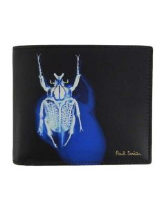 This Paul Smith black beetle leather wallet comes with the brand name printed on the front.