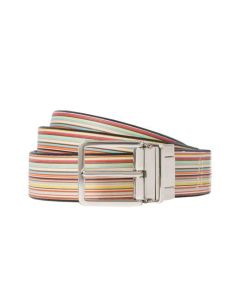 This Paul Smith belt comes with a striped design on the front.