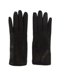 This pair of black leather gloves are part of the Paul Smith collection for women.