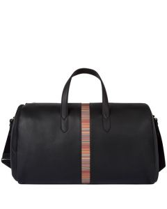 This is the Paul Smith Black 'Signature Stripe' Leather Holdall.