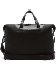 This is the Paul Smith Black Recycled Polyester Holdall with Signature Stripe Trim.