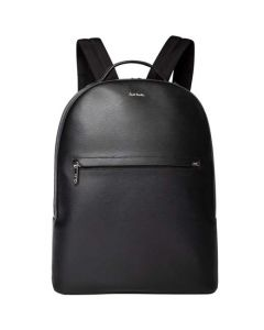 This is the Paul Smith Saffiano Leather Black Backpack with Bright Stripe Trim.