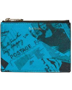 This is the Paul Smith Blue Show Collage 2CC Zipped Card Holder.