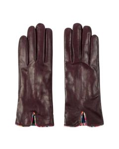 These Paul Smith gloves are made from a burgundy leather material.
