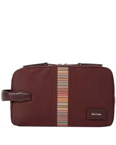 This is the Paul Smith Burgundy 'Signature Stripe' Canvas Wash Bag.