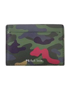 This leather Paul Smith card holder comes with a camo print on the front.