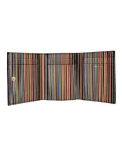 This Paul Smith leather card holder comes with a multi coloured striped interior.