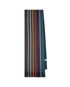 This is the Paul Smith Men's Charcoal Twisted Artist Stripe Scarf.