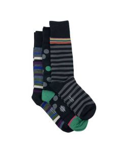This pack of Paul Smith socks comes with 3 pairs, 2 striped and 1 polka dot.