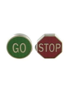Road sign cufflinks designed by Paul Smith.