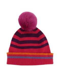 This Paul Smith ladies bobble hat is made from a pink lambs wool material.
