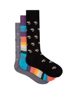 These are the Paul Smith Men's Three Pack Chameleon, 'Artist Stripe' & Ladybird Socks.