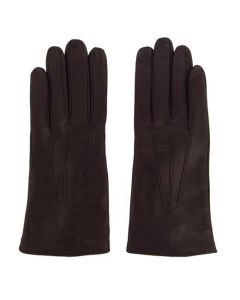 This pair of Paul Smith gloves are made from a burgundy leather material.