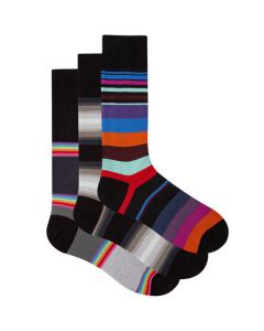 These are the Paul Smith 3-Pack of Men's Mixed Black Stripe Socks.