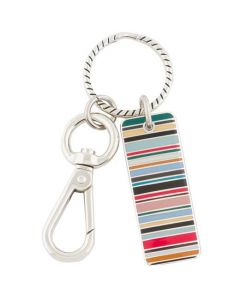 This is the Paul Smith Multicoloured Stripe Metal Tag Keyring.