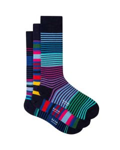 These are the Paul Smith Men's Mixed Navy 3-Pack of Striped Socks.
