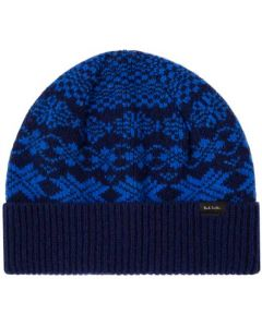 This is the Paul Smith Men's Navy Fair Isle Lambswool Hat.