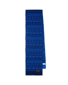 This is the Paul Smith Men's Navy Fair Isle Lambswool Scarf.