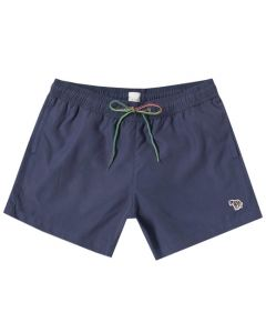 The Paul Smith navy blue polyester swim shorts in the Zebra collection.