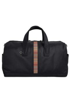 This is the Paul Smith Black 'Signature Stripe' Canvas Holdall.