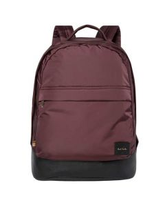 Large Burgundy Nylon and Black Leather Backpack