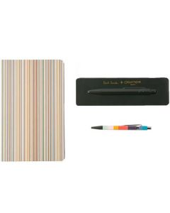 This is the Paul Smith x Caran d'Ache Racing Green 849 'Artist Stripe' Ballpoint Pen with Signature Stripe Notebook.