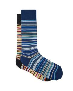 These are the Paul Smith Men's Narrow Signature & Blue Signature Stripe Socks 2-Pack.