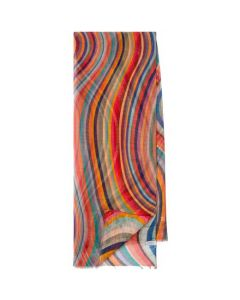 This Paul Smith striped scarf features there famous swirl design.