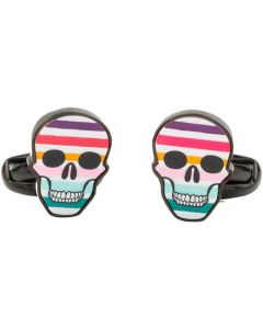 These are the Paul Smith Striped Mother-of-Pearl Multicoloured Skull Cufflinks.