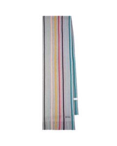 This is the Paul Smith Men's Slate Grey Twisted Artist Stripe Scarf.