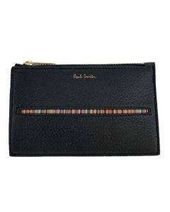This black leather Paul Smith coin purse comes with the signature stripe on the front.