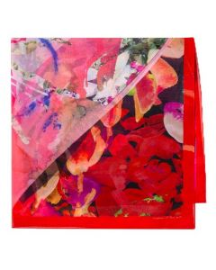 This is the Paul Smith Red and Pink Silk Floral Valentines Print Scarf.