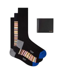 This Paul Smith set comes with 3 pairs of socks and a black leather wallet.