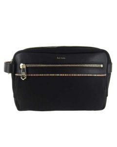 This Paul Smith black nylon washbag comes with a zip on the front.