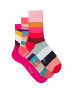These are the Paul Smith Women's Three-Pack of Mixed Stripe Pink Socks.
