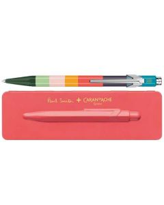 This is the Paul Smith & Caran D'Ache 849 'Artist Stripe' Ballpoint Pen with Coral Pink Case.