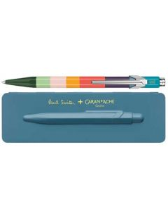 This is the Paul Smith & Caran D'Ache 849 'Artist Stripe' Ballpoint Pen with Petrol Blue Case.