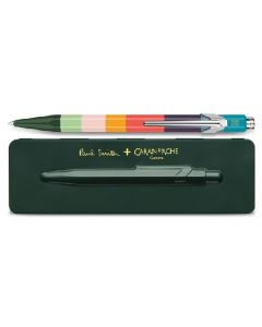 This is the Paul Smith & Caran D'Ache 849 'Artist Stripe' Ballpoint Pen with Racing Green Case.