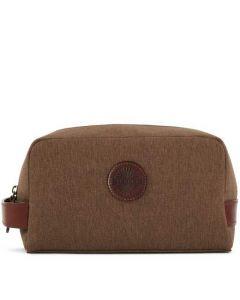 The Purdey London walnut cotton canvas wash bag.