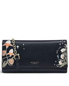 This is the Radley Black Folk Floral Large Zip-Top Phone Purse.