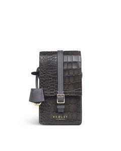 This is the Radley Thunder Grey Mock Croc Tudor Close Mini Phone Cross Body Bag.