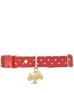 This is the Radley Crimson Polka Dot Medium/Large Dog Collar.