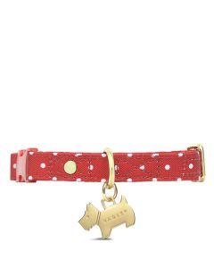 This is the Radley Spot Crimson Polka Dot Small/Medium Dog Collar.
