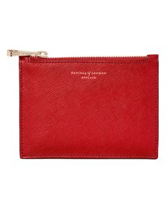 The Aspinal of London scarlet small Essential flat pouch.