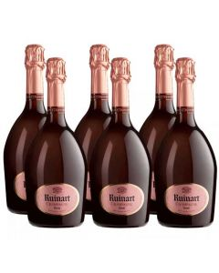 This gift set comes with 6 bottles of Ruinart Rose champagne.