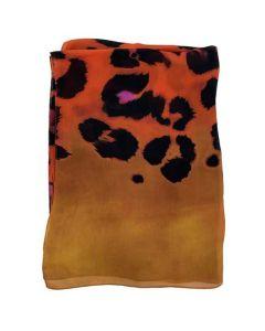 Women's Silk Contrast Edge Orange Leopard Print Scarf