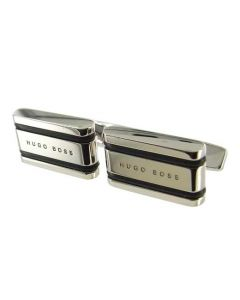 These Hugo Boss silver cufflinks come with a striped black rubber design.