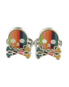 These skull shaped Paul Smith cufflinks come with the multi stripe design on the front.